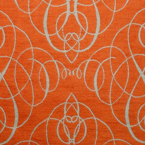 Anichini Mozart Chenille Fabric By The Yard In Orange Neutral