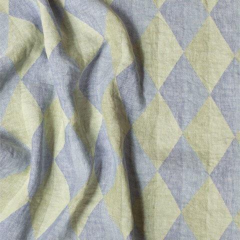 Anichini Yutes Collection Harlequin Diamond Jacquard Fabric In 01 Blue Green