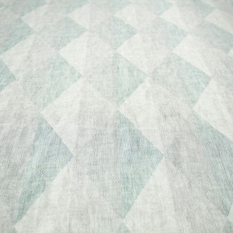 Anichini Puzzle Harlequin Linen Fabric In 01 Blue/Green