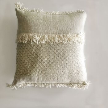 Anichini Hospitality Narmada Fringe Off-White Washable Wool Blend Throws And Pillows