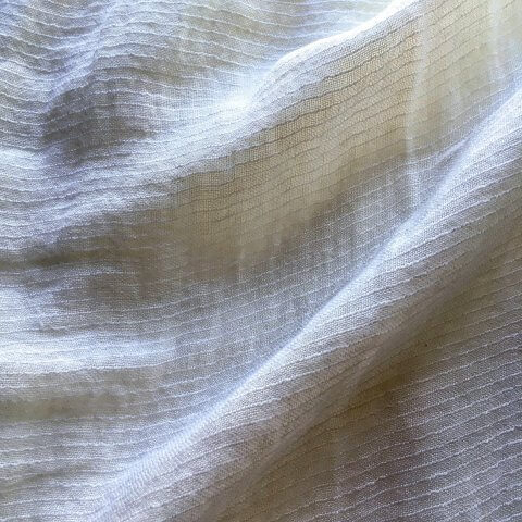 Abril Sheer Pinstripe Linen Fabric In Off White