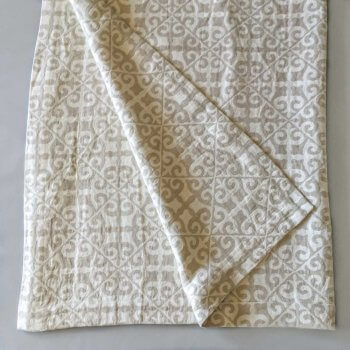 Anichini Tokkat Tile Design Linen Throws & Bed Runners