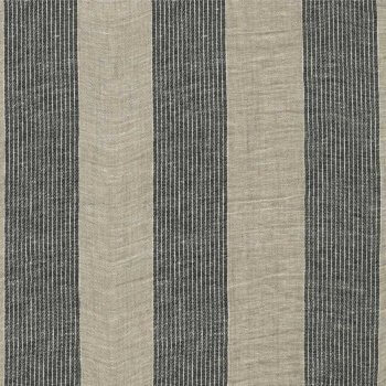 Anichini Valdas Natural Linen Fabric With Black And Ivory Pin Stripes