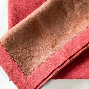 Anichini Janus Mocha Red Linen Tablecloths and Runners