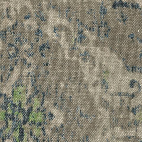 Anichini Yutes Collection Erba Multicolor Printed Linen Fabric In Natural Indigo Green