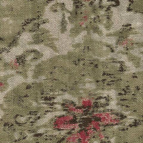 Anichini Yutes Collection Erba Multicolor Printed Linen Fabric In Natural Black Red