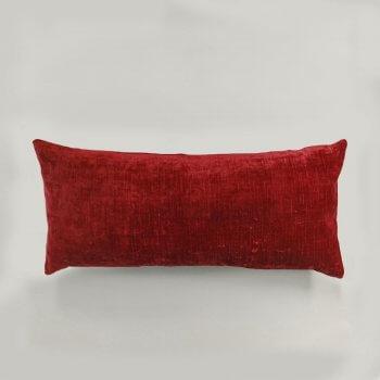 Anichini Horus Linen Velvet Pillows In Blood Red