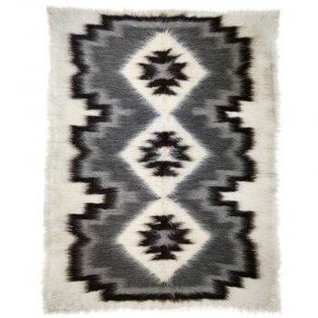 Anichini Ivory Diamond Trio Brushed Natural Wool Rugs