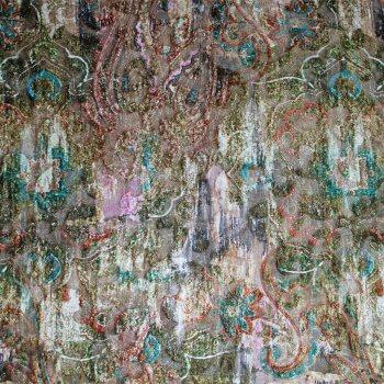 Anichini Lagoon Printed Fortuny Velvet Fabric In Winter