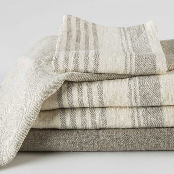 Anichini Olga Striped Flatweave Linen Bath Linens