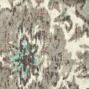 Anichini Yutes Collection Erba Multicolor Printed Linen Fabric In Ivory Brown Multi