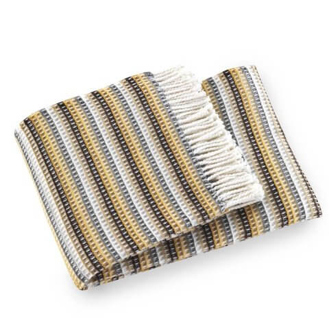 Anichini Hospitality Candy Stripe Washable Cotton Blend Throws