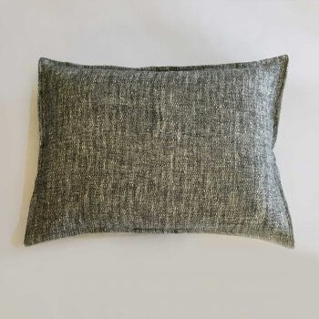 Anichini Calvin Textured Linen Denim Decorative Pillows, Black/Ivory