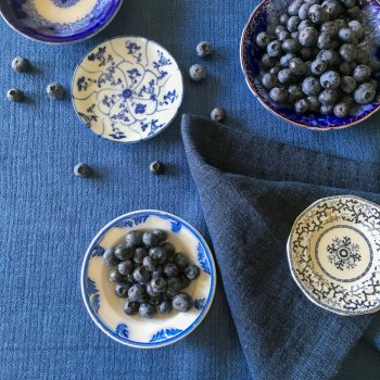 Anichini Calvin Textured Linen Pickstitch Table Linens In Indigo