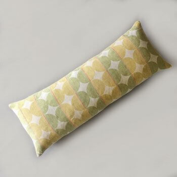 Anichini Contorno Linen Circle Pattern Decorative Pillows In Olive Green