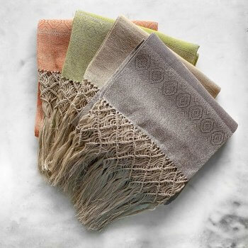 Anichini Melania Linen Hand Towels With Hand Knotted Fringe, Small Size