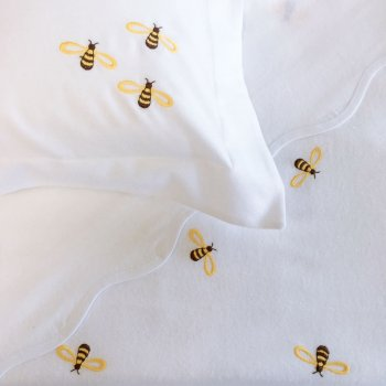 Anichini Bumblebee Embroidered Flannel Crib Sheeting