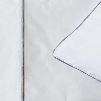 Anichini Palladio Percale Sheeting in White/Charcoal