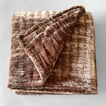 Anichini Pho Silk Velvet Quilts And Bed Throws In Bronze