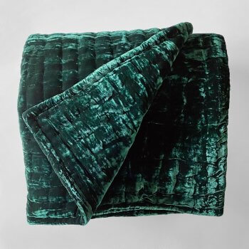 Anichini Pho Silk Velvet Quilts And Bed Throws In Midnight Green