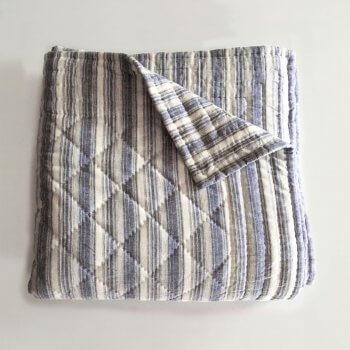 Anichini Pho Collection Handmade Linen Stripe Quilt