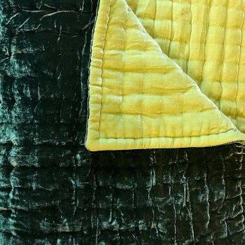 Anichini Handmade Pho Velvet Quilt in Chartreuse / Moss Green