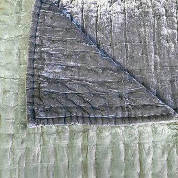 Anichini Handmade Pho Velvet Quilt In Lichen / Slate