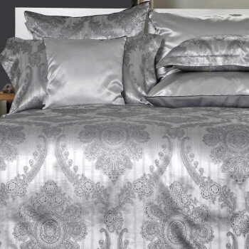Anichini Piana Grey Silk Medallion Sheets