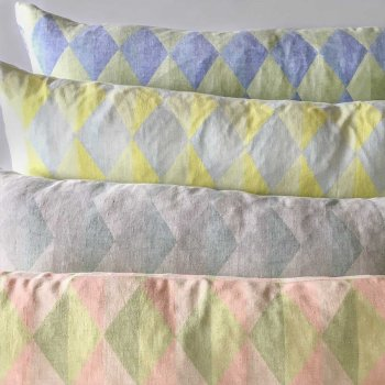 Anichini Puzzle Harlequin Diamond Linen Pillows