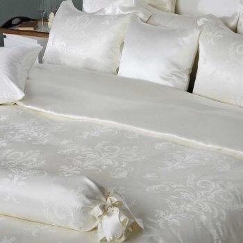 Anichini Siena Ivory Fleur De Lys Silk Sateen Sheets