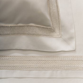 Anichini Martina Sateen Modern Lace Embellished Sheets In Platinum
