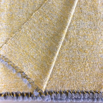 Anichini Pebble Weave Heather Throw In Yellow/Blue