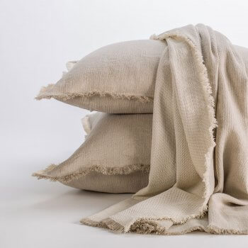 Barbora Natural & Ivory Herringbone ChenillePillow Covers | ANICHINI Decorative Pillows