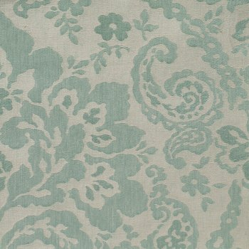 Anichini Lido Linen Jacquard Fabric By The Yard In Aqua Ecru
