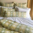 Anichini Contorno Linen Circle Pattern Duvets & Shams In Olive Green