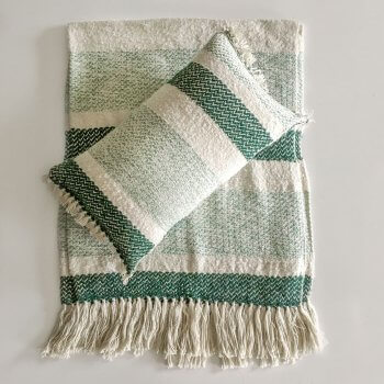 Anichini Hospitality Narmada Grainy Green Washable Wool Blend Throws And Pillows