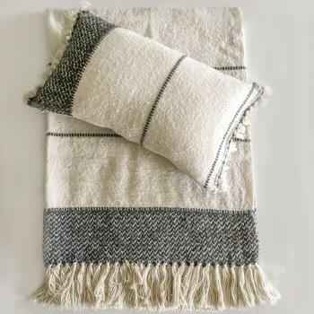 Anichini Hospitality Narmada Off-White Washable Wool Blend Throws And Pillows