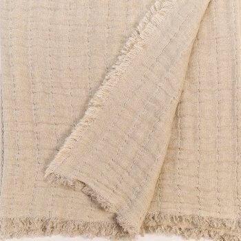 Anichini Aldona Linen Gauze Matelassé Oversized Bed Throws & Pillow Covers
