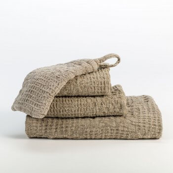 Anichini Adras Linen Waffle Weave Guest Towels In Natural