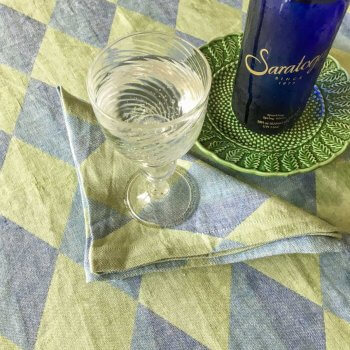 Anichini Puzzle Diamond Pattern Linen Table Runners In Blue Green