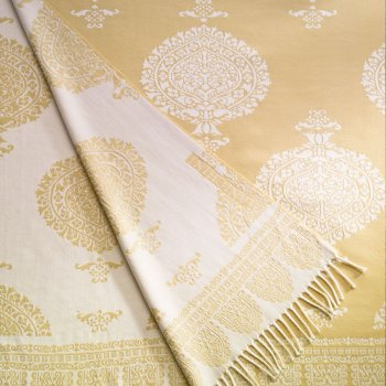 Anichini Taormina Merino Wool Throw In Creamy Yellow / Ivory