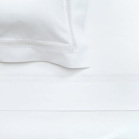 Anichini Avila Percale Sheeting with Swiss Lace