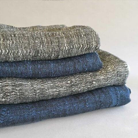 Anichini Calvin Textured Linen Denim Towels