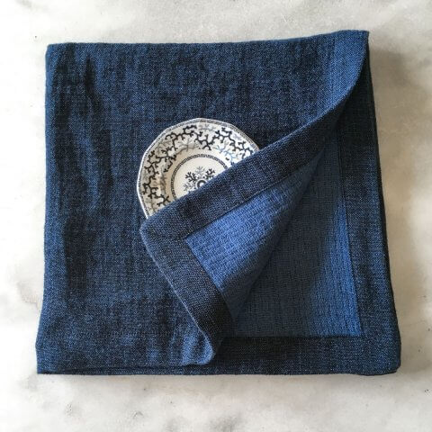 Anichini Calvin Textured Linen Pickstitch Table Linens In Indigo