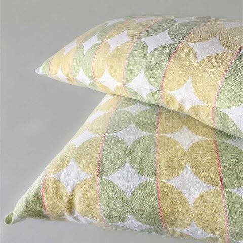 Anichini Contorno Linen Circle Pattern Decorative Pillows In Neutral