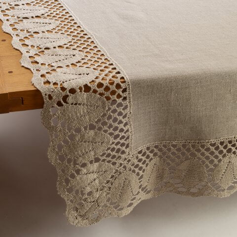 Anichini Lace Border Linen Table Linens