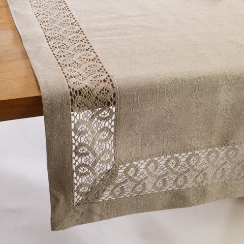 Anichini Lace Insertion Linen Tablecloths