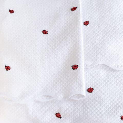 Anichini Ladybug Embroidered Flannel Baby Bedding