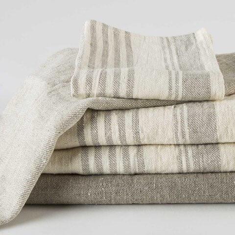 Olga Linen Bath Linens Anichini Striped Flatweave Linen Towels