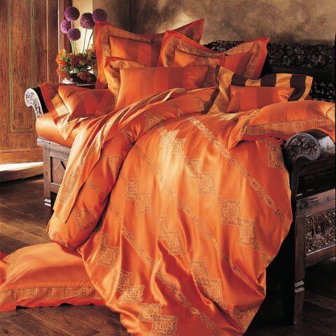 Anichini Persia Twill Jacquard Sheeting In Orange ...